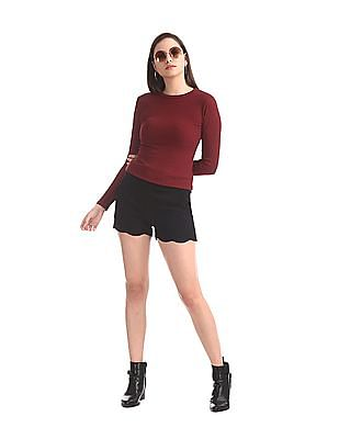 Elle Studio Red Long Sleeve Knit Top