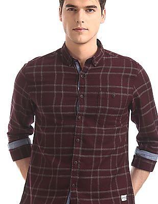 Flying Machine Purple Button Down Collar Check Shirt