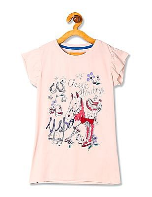 U.S. Polo Assn. Kids Girls Round Neck Printed T-Shirt