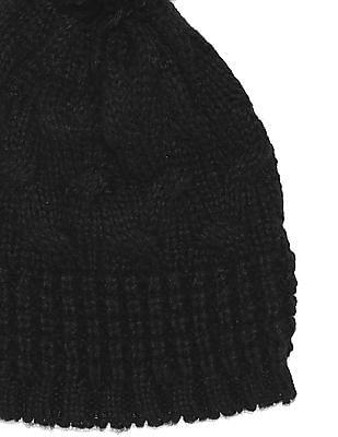 Aeropostale Pom Pom Patterned Knit Beanie