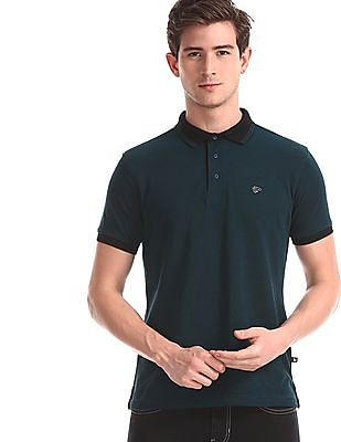 Ruggers Green Tipped Collar Solid Polo Shirt