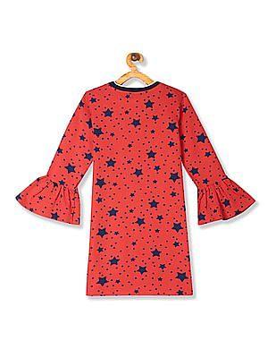 U.S. Polo Assn. Kids Red Girls Bell Sleeve Printed T-Shirt Dress