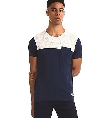 Flying Machine Blue Patch Pocket Cut And Sew Panel T-Shirt