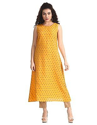 Anahi Yellow Printed Kurta With Cover Up