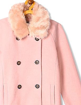 Arrow Woman Double Breasted Faux Fur Trench Coat