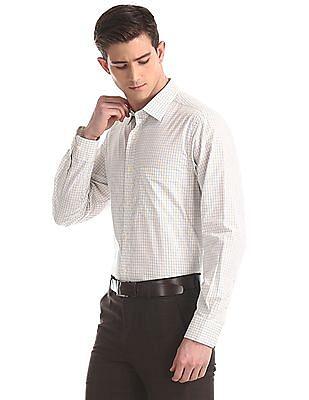 Arrow Yellow Mitered Cuff Check Shirt