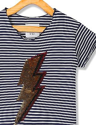 Cherokee Girls Striped Flippy Sequin Top