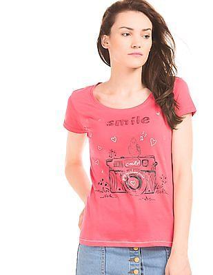 Flying Machine Women Graphic Print T-Shirt