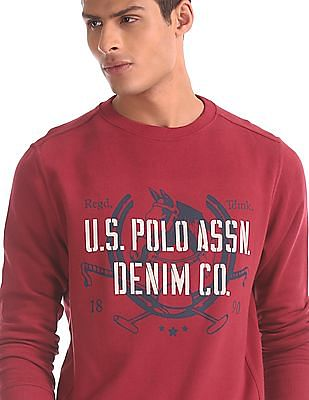 U.S. Polo Assn. Red Brand Print Cotton Sweatshirt