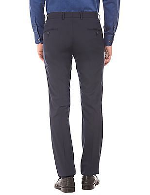 Arvind Tailored Fit Front Crease Trousers
