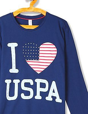 U.S. Polo Assn. Kids Girls Studded Printed T-Shirt