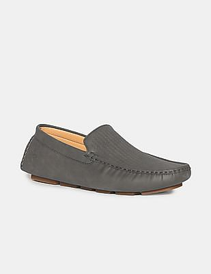 U.S. Polo Assn. Grey Round Toe Textured Loafers