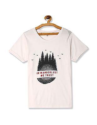 Cherokee White Textured Print Cotton T-Shirt