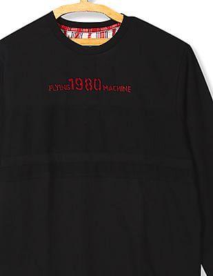 Flying Machine Crew Neck Panelled Sweatshirt