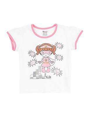 Donuts Girls Graphic Print Cotton T-Shirt
