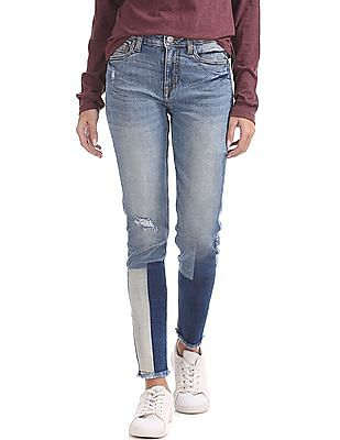 Aeropostale Straight Fit Colour Block Jeans