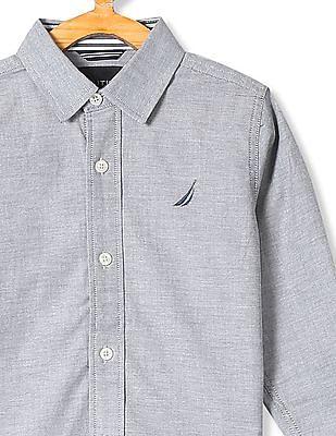 Nautica Kids Boys Long Sleeve Cotton Shirt