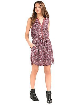 GAP Women Pink Mix Print Sleeveless Shirt Dress