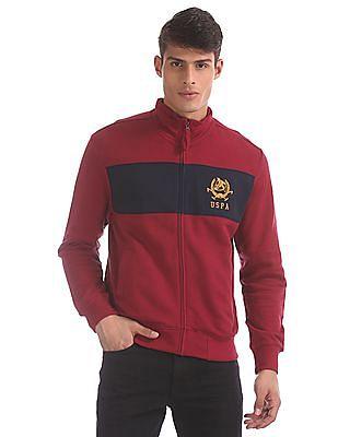 U.S. Polo Assn. Red Colour Block Chest High Neck Sweatshirt