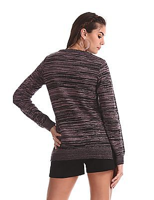 Cherokee Pink Round Neck Patterned Knit Sweater