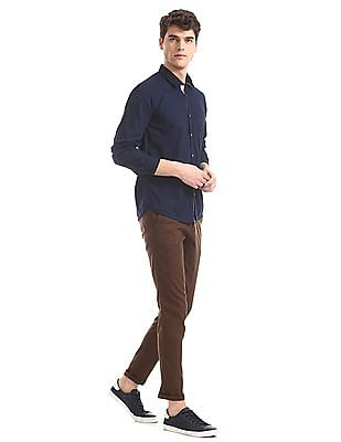 Ruggers Blue Contemporary Regular Fit Solid Shirt