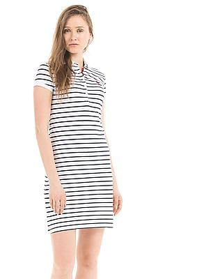 U.S. Polo Assn. Women Striped Pique Polo Dress