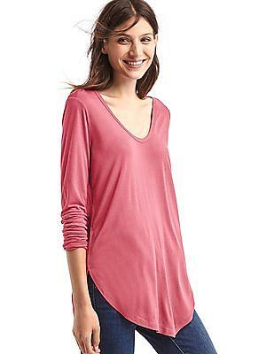 GAP Women Pink Scoop Neck Long Sleeve Tunic