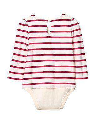GAP Baby White Stripe Keyhole Body Double