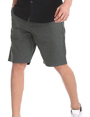 Arrow Sports Grey Allover Print Regular Fit Shorts