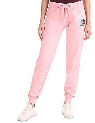 Aeropostale Pink Drawstring Waist Knit Joggers