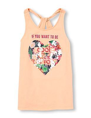 The Children's Place Girls Twist Back Graphic Tank Top