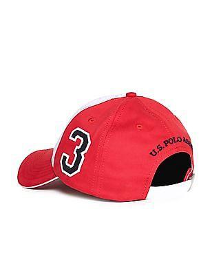 U.S. Polo Assn. Red And Grey Colour Block Cotton Cap