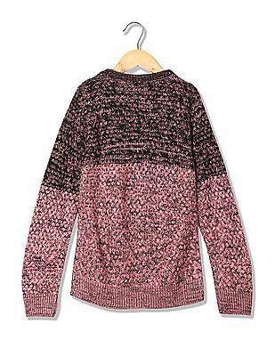 Cherokee Girls Long Sleeve Patterned Knit Sweater