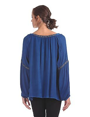 Cherokee Embroidered Trim Boxy Top