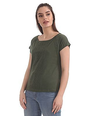 Cherokee Lace Trim Short Sleeve Top