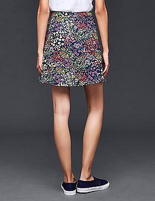 GAP Women Multi Colour Garden Floral Flippy Skirt