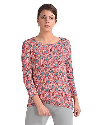 Cherokee Floral Print Round Neck Top
