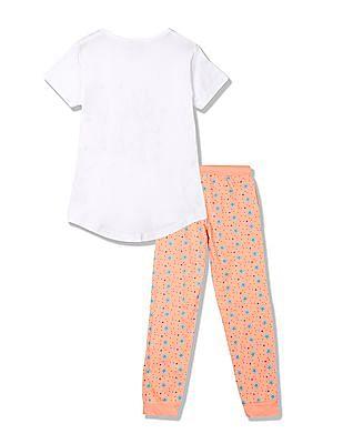 Cherokee Girls Printed T-Shirt And Pyjama Sleep Set