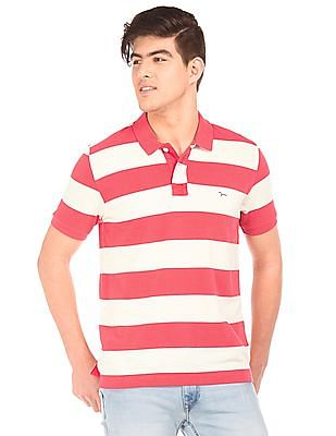 Flying Machine Striped Cotton Jersey Polo Shirt