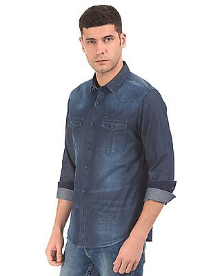Ed Hardy Slim Fit Washed Denim Shirt
