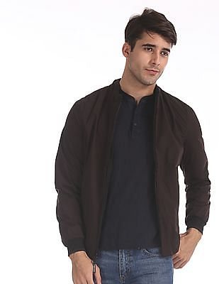 Flying Machine Black And Wine Colour Block Reversible Jacket