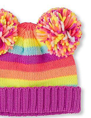 The Children's Place Girls Neon Rainbow Stripe Double Pom Pom Beanie