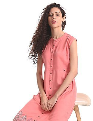 Bronz Pink Printed Maxi Dress