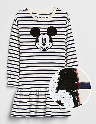 GAP Girls Blue Disney Mickey Mouse Flippy Sequin Dress