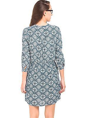 Cherokee Mandarin Neck Printed Shift Dress