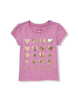The Children's Place Toddler Girl Short Sleeve 'Love My Daddy' Heart Graphic Tee