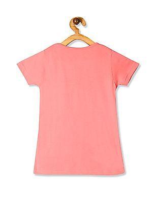 Cherokee Pink Girls Glittery Cat Graphic T-Shirt