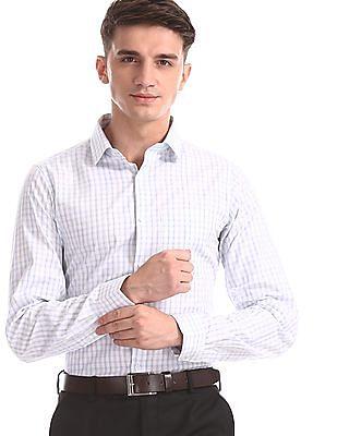 Excalibur Blue Slim Fit Checked Shirt