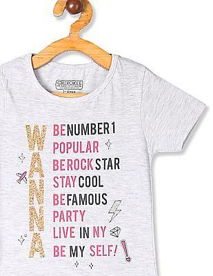 Cherokee Grey Girls Round Neck Graphic Print T-Shirt