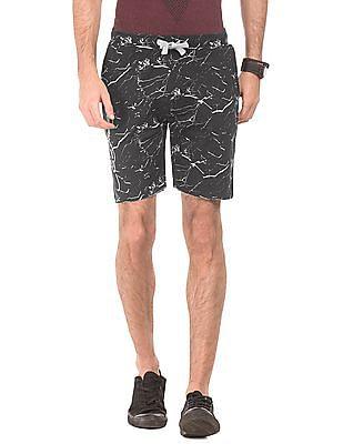 Ed Hardy Splatter Print Drawstring Waist Shorts